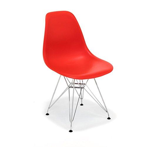 Hochwertige Tower replica Eames Stuhl, Polypropylen und Stahl rot