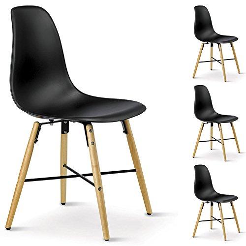 IDIMEX 4er SET Esszimmerstuhl Design Retro Konferenzstuhl CICERO, aus Hartschale, in schwarz