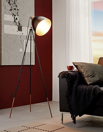 Industrie Stehlampe (Höhe 135,5cm, 3 beinig, E27, weite Schirmform, Wipp-Schalter) Innenleuchte Stehleuchte Standleuchte Standlampe