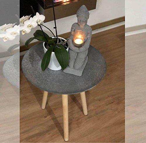 Livarno living COUCHTISCH ASIA Dreibein-Tisch Design Beistelltisch H 45 cm anthrazit traditionell modern asiatisches Feuergebranntes Design ~ds2 342