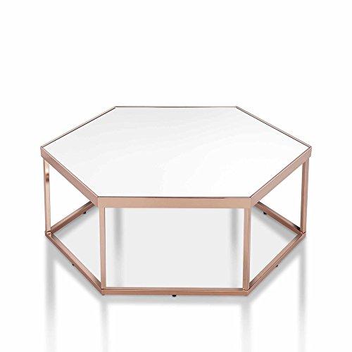 OTTMAR-Beistelltisch Glas, Metallgestell, Coutschtisch, Sofatisch inkl, modernes Design (Spiegel-sicheres-Glas),Metall Couchtisch, Kupfe-A0016935DE