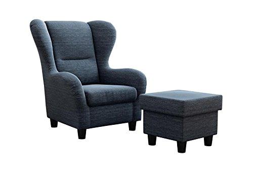 """Ohrensessel Möbelfreude® Landhausstil mit Hocker """"Savana"""" Cocktail-Sessel Wohnzimmer-Sessel Relax-Sessel Blau Struktur-Stoff Luxus Cocktail-Sessel (Blau)"""