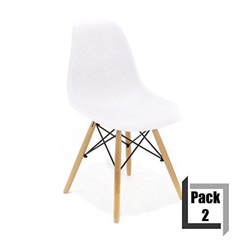 Pack von 2Stühle Tower Wood PP Replica Eames, Qualität und-Holz Buche weiß