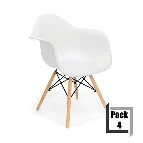 Pack von 4Stühle Tower Wood Replica Eames, hochwertige Polypropylen und Holz Buche–Arme weiß