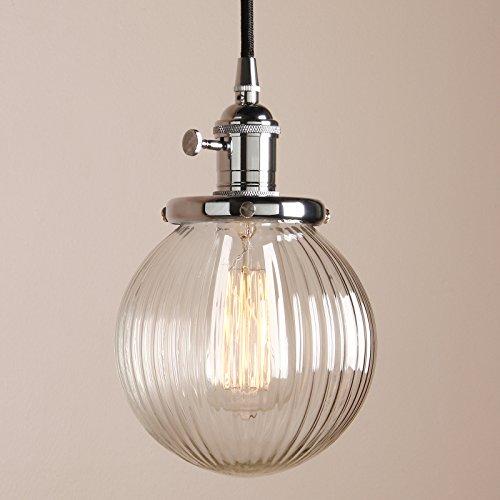 Pathson Antik Design Gestreifte Kleine Kugel Glas innen Pendelleuchte Hängeleuchte Vintage Industrie Loft-Pendelleuchte Hängelampen Hängeleuchte Pendelleuchten (Chrom Farbe)