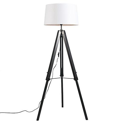 QAZQA Design/Industrie/Industrial/Retro/Stehleuchte/Stehlampe/Standleuchte/Lampe/Leuchte Tripod/Dreifuß Lampe/Dreifuss schwarz mit Schirm 45cm leinen weiß/Innenbeleuchtung/Wohn