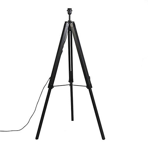 QAZQA Design/Industrie/Industrial/Retro/Stehleuchte/Stehlampe/Standleuchte/Lampe/Leuchte Tripod/Dreifuß Lampe/Dreifuss schwarz ohne Schirm/Innenbeleuchtung/Wohnzimmer/Schlafz