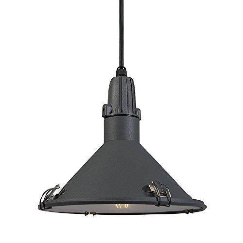 QAZQA Industrie/Industrial/Modern/Pendelleuchte/Pendellampe/Hängelampe/Lampe/Leuchte Vida grau IP44/Außenbeleuchtung/Wohnzimmer/Schlafzimmer/Küche Aluminium/Glas/Rund LED gee