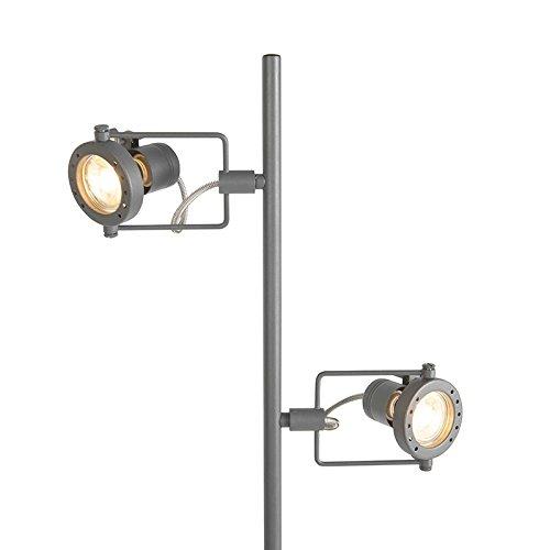 QAZQA Industrie/Industrial/Modern/Stehleuchte/Stehlampe/Standleuchte/Lampe/Leuchte dunkelgrau - Suplux 2-flammig/Innenbeleuchtung/Wohnzimmer/Schlafzimmer/Küche Metall Länglich LE