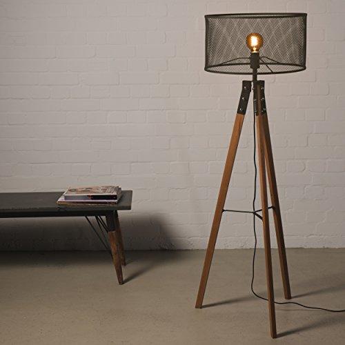 Stehlampe 150cm Retro Holz mit Fußschalter inkl. Schirm Stativ Lampe Vintage Industrie Tripod Stativlampe Leuchte