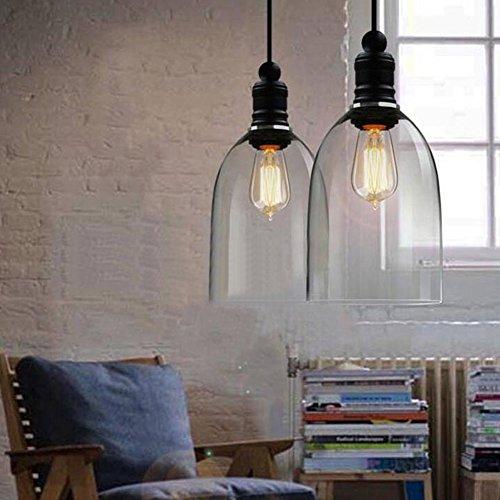 Vintage Deckenleuchte Pendelleuchte Schatten Bell Form Klar aus Glas zum Aufhängen Lampenschirm (E27Leuchtmittel nicht im Lieferumfang enthalten)
