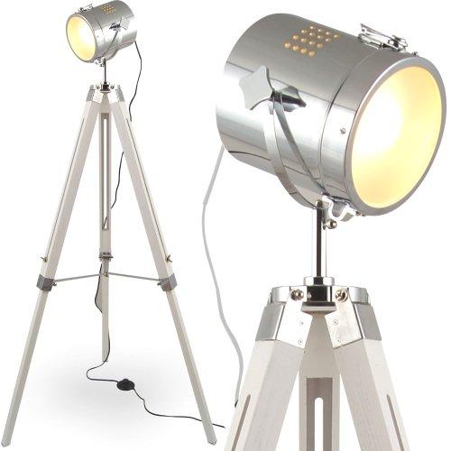mojoliving MOJO® Stehleuchte Tischleuchte Tripod Stehlampe Tischlampe Dreifuss Urban Industrial Design Lampe Sel-l31 (Weiss, Stehleuchte)