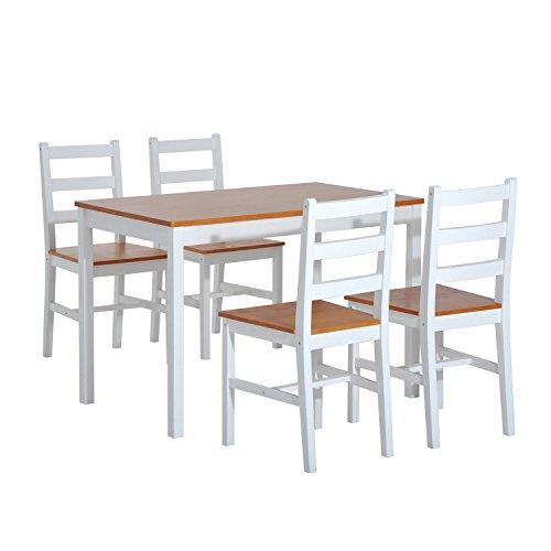 Homcom, 5-teiliges Esszimmer-Set, 1 Tisch und 4 Stühle aus Massivholz