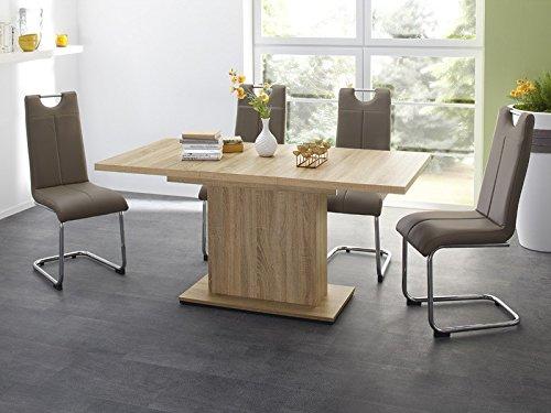 Essgruppe Tischgruppe Esstisch Patrick ausziehbar Eiche sägerau + 4x Freischwinger Lacy cappuccino