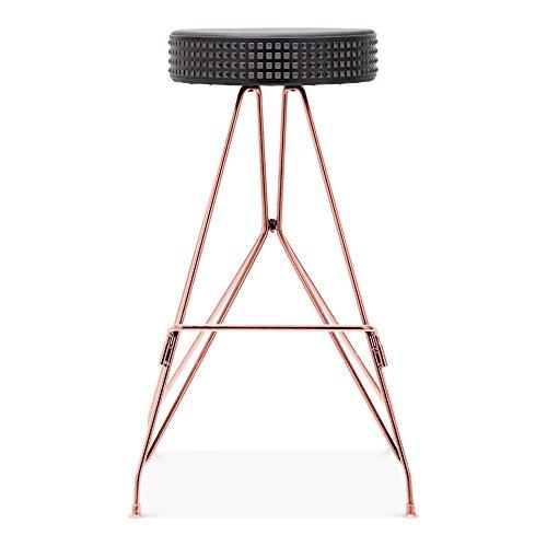 Cult Design Moda Metall Barhocker CD1, Kunstleder Sitz mit Nieten, Kupfer 76cm