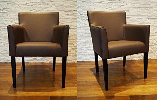 "Breite Echtleder Esszimmerstühle ""Kross Arm"" braun Leder & Massivholz Stühle Lederstühle Sessel mit Armlehnen Echt Leder Esszimmer Stuhl"