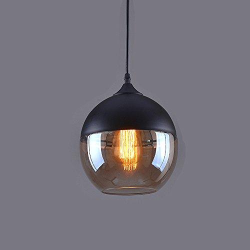 Weare Home Retro-Kugel Durchsichtiger Glas-Lampenschirm Pendelleuchten, Durchmesser 20cm, Höhe 23cm