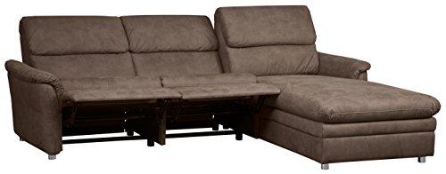 CAVADORE Chalsay Polstergarnitur mit Longchair rechts inkl. Relaxfunktion/mit Federkern/Eckcouch im modernen Design/Größe: 252 x 94 x 177 cm (BxHxT)/Farbe: Braun (chocco)