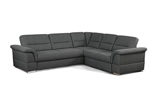 CAVADORE Eck-Sofa Tuluza/Moderne Eck-Couch grau mit Spitzecke/Größe: 262 x 87 x 233 cm (BxHxT)/Strukturstoff in grau