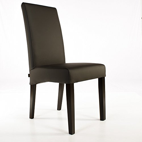Lederstuhl Bambi Leder Dark Braun Stuhlbeine Wenge Lederstühle Stühle Stuhl NEU