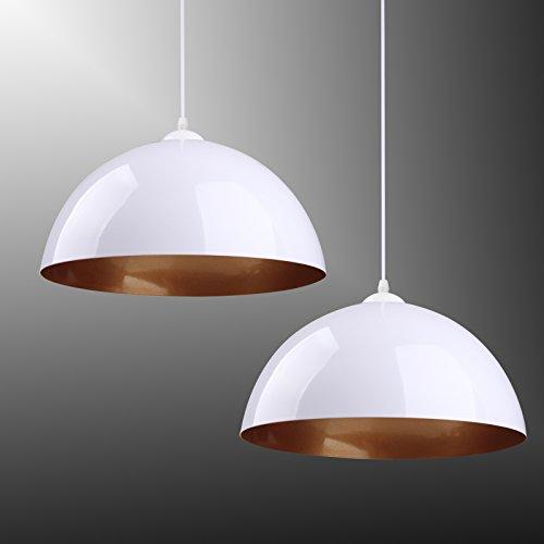 BAYTTER® 2x Industrielle Vintage Pendelleuchte Hängeleuchte Φ 30cm für E27 Leuchtmittel, schwarz und weiß wählbar, für Wohnzimmer Esszimmer Restaurant usw.