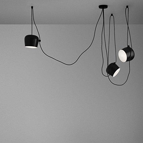 Ceiling Light Moderne mehrere verstellbar DIY Kronleuchter Basteln Kreative Spinne Trommel Licht Anhänger höhenverstellbar Loft Multihead für Essen Restaurant Kaffee Bar 3-flammig, E27, schwarz