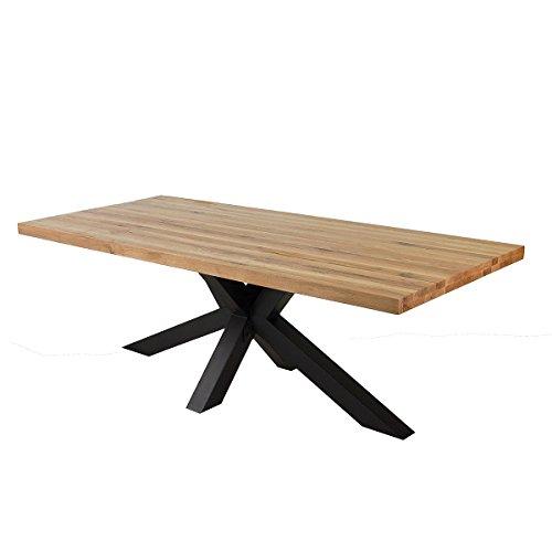 Esstisch Eiche Massivholz Natur geölt Tisch 220 x 100 x 76 cm Esszimmertisch Massiv Wildeiche