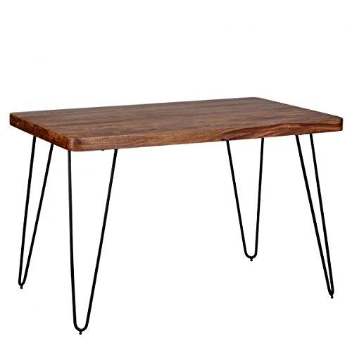 Esstisch Massivholz Sheesham 120 cm Esszimmer-Tisch Holztisch Metallbeine Küchentisch Landhaus dunkel-braun