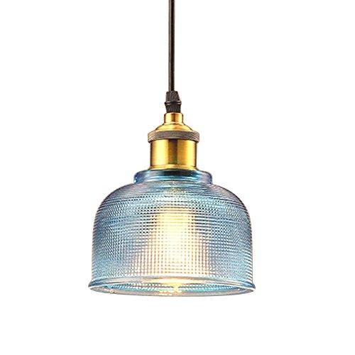 FLTRADE Modern Glas Hängeleuchte Industrielle Vintage LED Pendelleuchte Hängelampe Φ 15cm für Wohnzimmer Esszimmer Restaurant Keller Untergeschoss,Blau,Rot,Klar,Orange