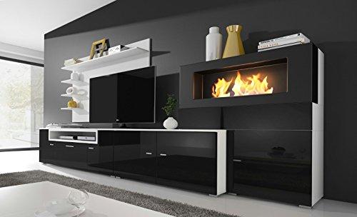 Home innovation- Moderne Wohnwand, TV-Lowboard, Esszimmer mit Kamin Bioethanol, Schrankwand, Wohnzimmer, Kamineinsatz, Verarbeitung weiß Mate und schwarz lackiert, Maße: 290 x 170 x 45 cm Tiefe.