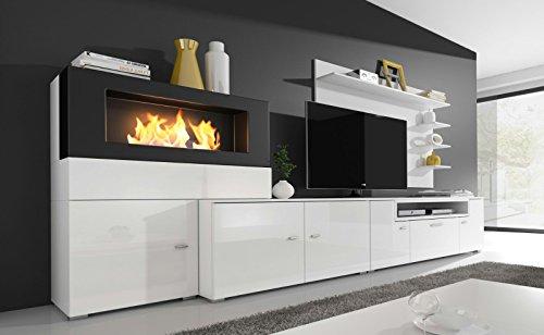 Home innovation- Moderne Wohnwand, TV-Lowboard, Esszimmer mit Kamin Bioethanol, Schrankwand, Wohnzimmer, Kamineinsatz, Verarbeitung weiß Mate und weiß lackiert, Maße: 290 x 170 x 45 cm Tiefe.