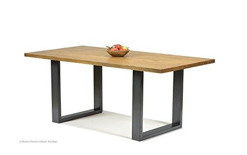 Kufentisch Esstisch mit Kufen Gestell 180x90cm, Pinie Massivholz Honig ohne Baumkante, Metall Fuß in Industrie- Look, rustikale Tischplatte 40mm stark, für Esszimmer Wohnzimmer Büro oder Küche