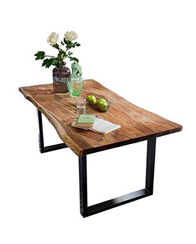 Sit Möbel Esstisch aus Akazie Massivholz mit Baumkante Stahlgestell Schwarz Nussbaum 180x90 cm