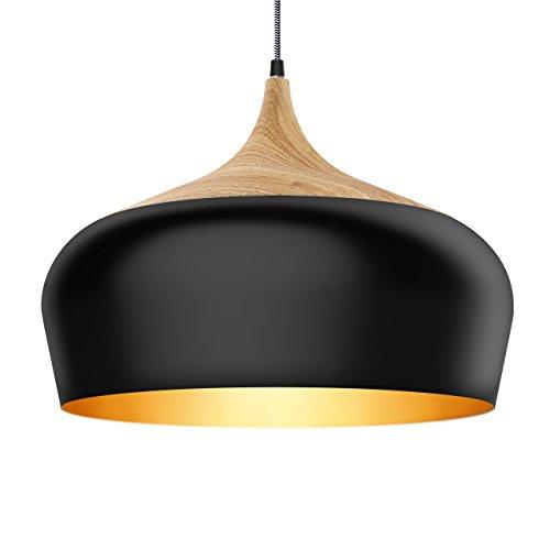 Tomons Pendelleuchte im modernen minimalistischen Stil, Eisen mit Holzmuster Decke Pendelleuchte, E27, max. 60W Birne/12W LED, Lampenschirm 45 cm Durchmesser, für Esszimmer, Küche, Wohnzimmer