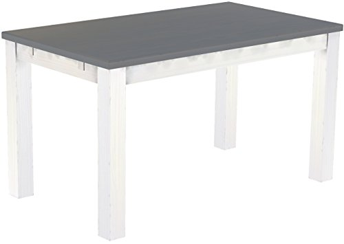 Brasilmöbel Esstisch 'Rio Classico' 140 x 80 cm, Pinie Massivholz, Farbton Seidengrau - Weiß