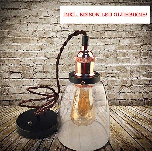 Kypo Retro/Industrie Lampe + Edison LED Glühlampe 4W. [Energieklasse A++] (Braun Bronze)