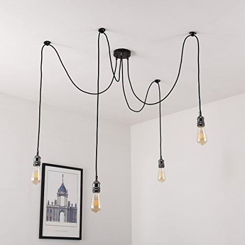 Vintage Pendelleuchte, Elfeland E27 4 Lichter Retro Industrielle Deckenleuchte höhenverstellbar Hängeleuchte mit 3-adrigem Textilkabel DIY Lampe Ideal für Nostalgie und Retro Beleuchtung (ohne Birne)