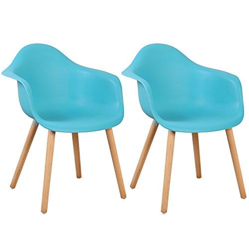 WOLTU 980 Esszimmerstühle 2er Set Esszimmerstuhl mit Lehne Design Stuhl Küchenstuhl Holz Kunststoff