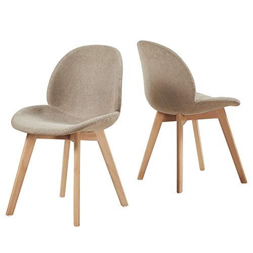 EGGREE Polsterstuhlset Esszimmerstühle mit Sitzfläche aus Leinen Vintage Design und Buchebeine, Cremig Grau …