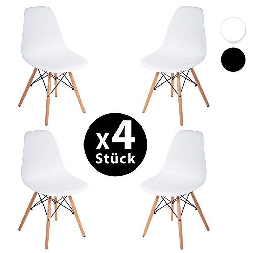 4 x Set Wohnzimmerstuhl Esszimmerstuhl Bürostuhl Kunststoff Weiß/ Schwarz