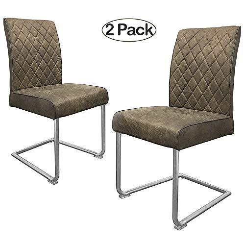 retro stuhl ambiendi 2er set esszimmerst hle st hle pu leder grau beige nickel metallgestell