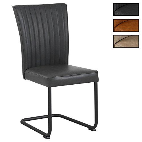 CARO-Möbel 4er Set Esszimmerstuhl Küchenstuhl Schwingstuhl Alamo aus Wildlederimitat in 3 Farben, Gestell aus Metall mit Strukturlack in schwarz