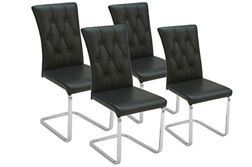 CAVADORE 88067 Schwingstuhl 4-er Set Ralph 01/Freischwinger ohne Armlehne in modernem Chesterfield-Design