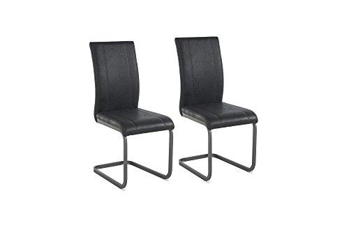 Cavadore Schwingstuhl Set Lilly/Stühle Ohne Armlehne in Modernem Design/Lederimitat/Stuhlset