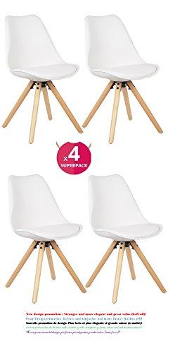 Comfortableplus 4er Set Esszimmerstühle mit Massivholz Buche Bein, Retro Design Gepolsterter lStuhl Küchenstuhl Holz