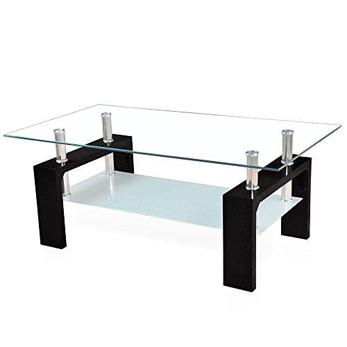 Corium] Couchtisch - Wohnzimmertisch (100 x 50 x 45 cm) (Glassplatte) (Weiss oder schwarz) Tisch/Glastisch / Beistelltisch/Wohnzimmer / Hochglanz
