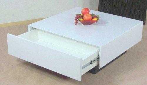 Couchtisch weiß Hochglanz Tisch Wohnzimmertisch Sofatisch Schubkasten modern
