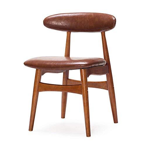 Eeayyygch Einfache Moderne Cafétische und -stühle, nordische Retro-Stühle, Esszimmerstühle, Rückenlehnen aus massivem Holz, Bürotische und -stühle (Farbe: Khaki)
