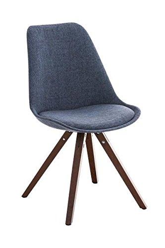 Esszimmerstuhl, Küchenstuhl, Lehnenstuhl, Sitzgelegenheiten, Besucherstuhl, Stuhl, Wartezimmerstuhl, Wohnzimmerstuhl Stuhl Stoff walnuss blau #PeglegS