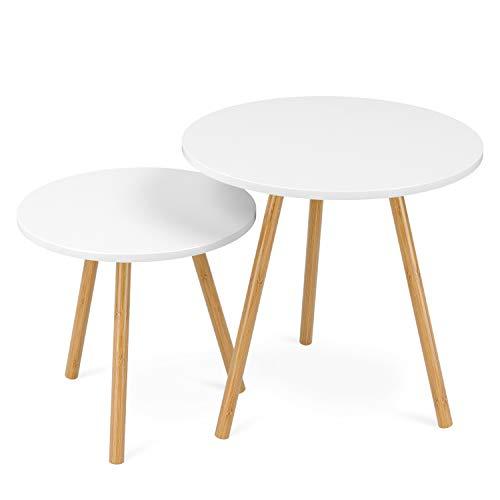 HOMFA 2x Beistelltisch weiß Couchtisch rund Wohnzimmertisch skandinavisch Kaffetisch klein Satztisch Set Groß(50x50x50cm),Klein(40x40x40cm)